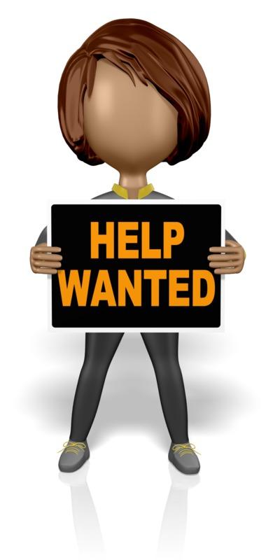 Clipart - Stickwoman Help Wanted