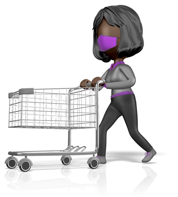 Clipart - Stickwoman Mask Push Shopping Cart
