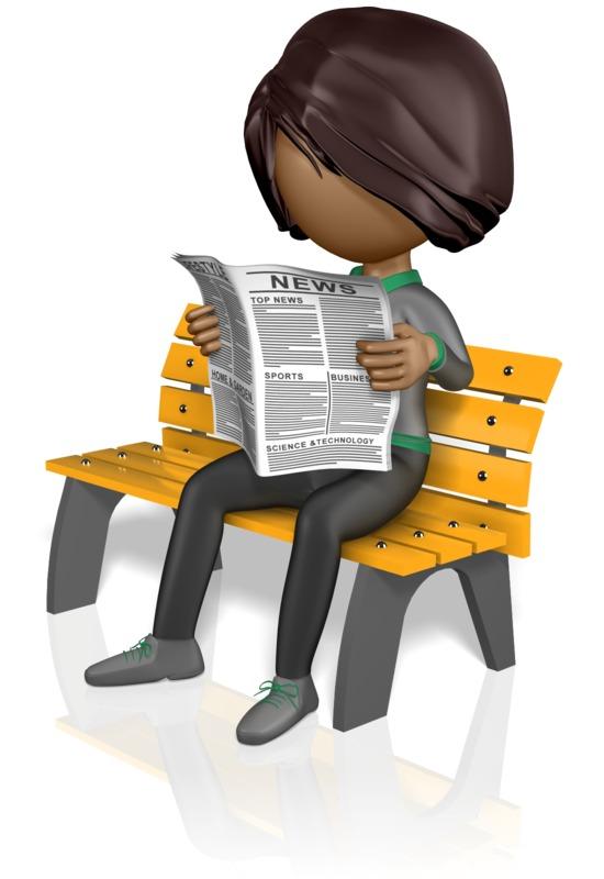 Clipart - Stickwoman Reading Newspaper