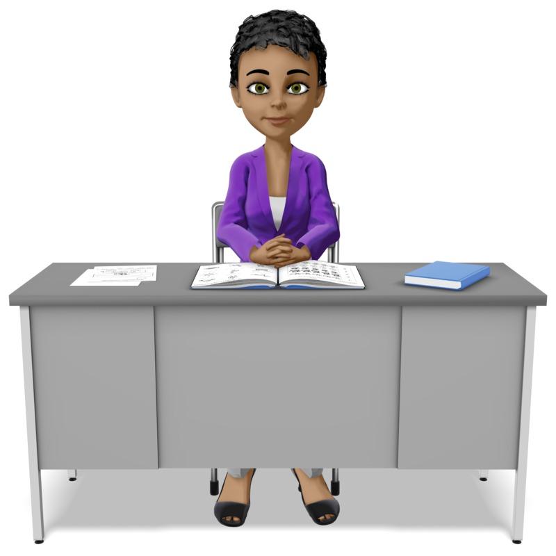 Clipart - Teacher At Desk