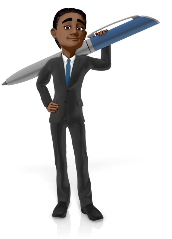 Clipart - Businessman Holding Large Pen