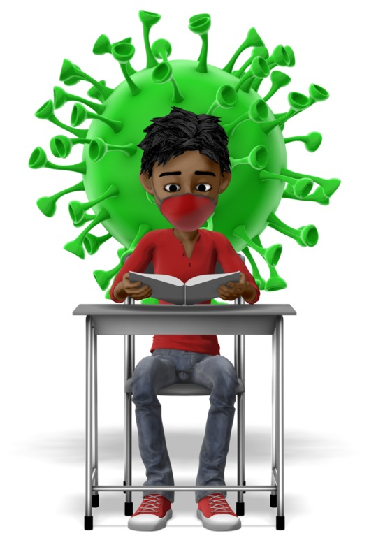 Clipart - Masked Student With Coronavirus Behind