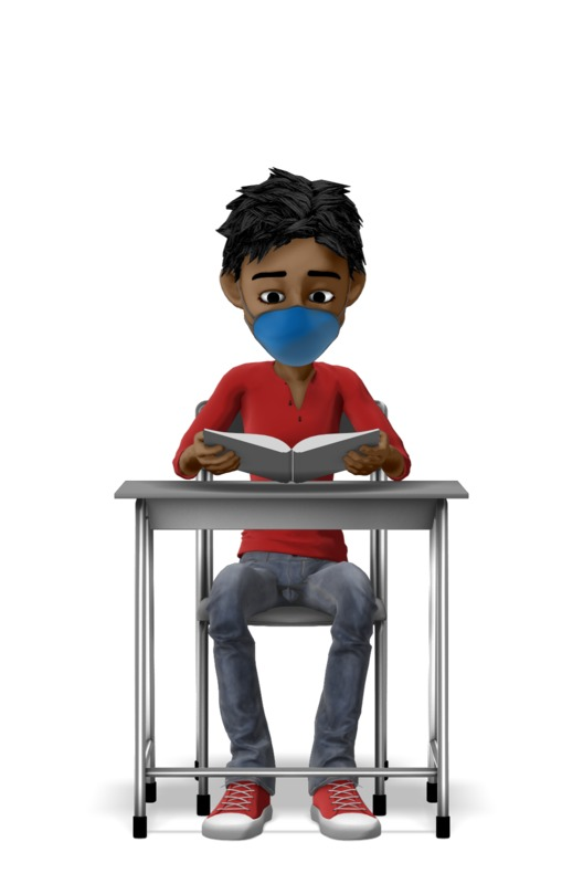 Clipart - Boy Reading With Mask On