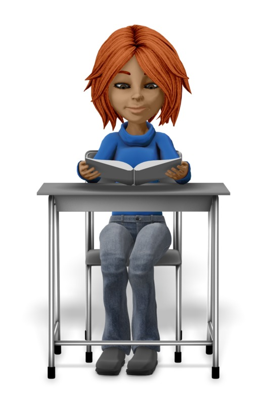 Clipart - Girl Student Sitting At Desk Reading