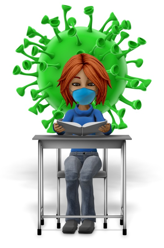 Clipart - Masked Girl Student At Desk Reading With Coronavirus