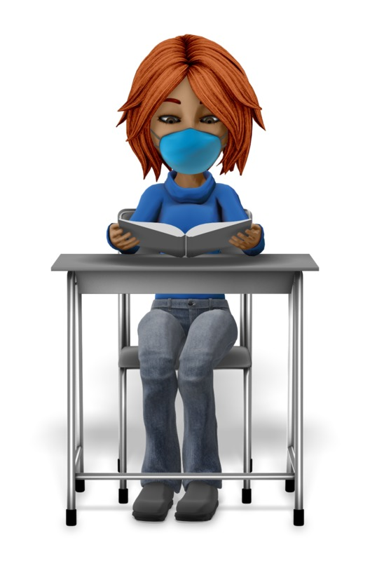 Clipart - Girl Student At Desk Reading With Mask