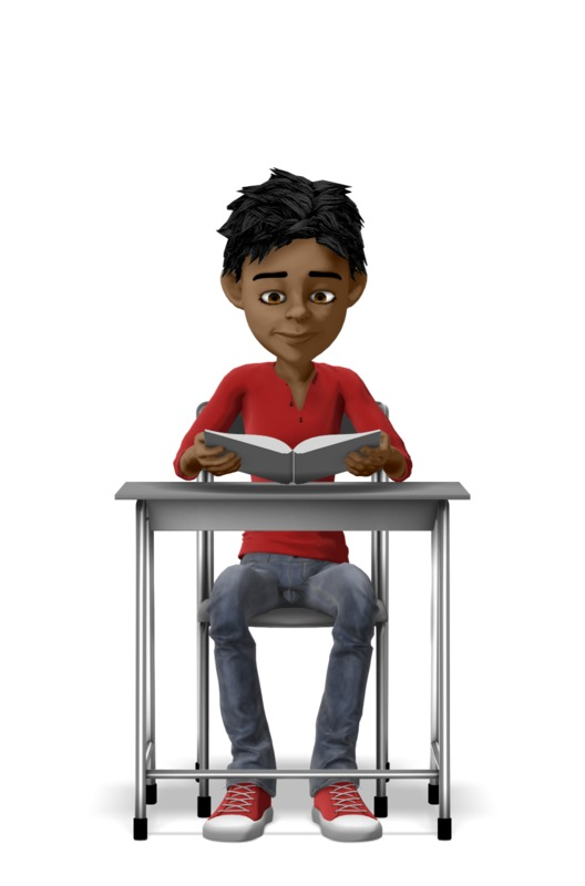 Clipart - Boy Reading With At Desk