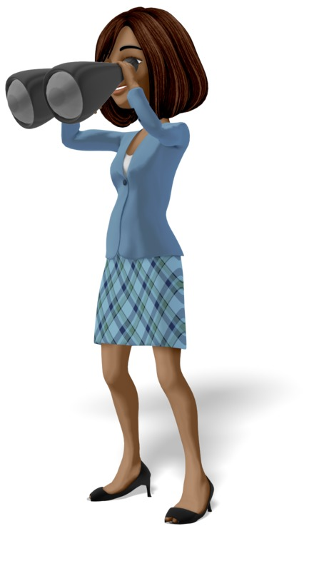 Clipart - Businesswoman Searching With Binoculars