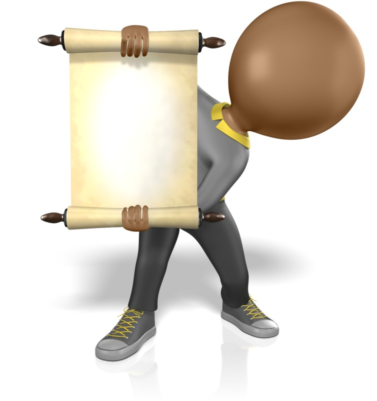 Clipart - Figure Holding Scroll Open