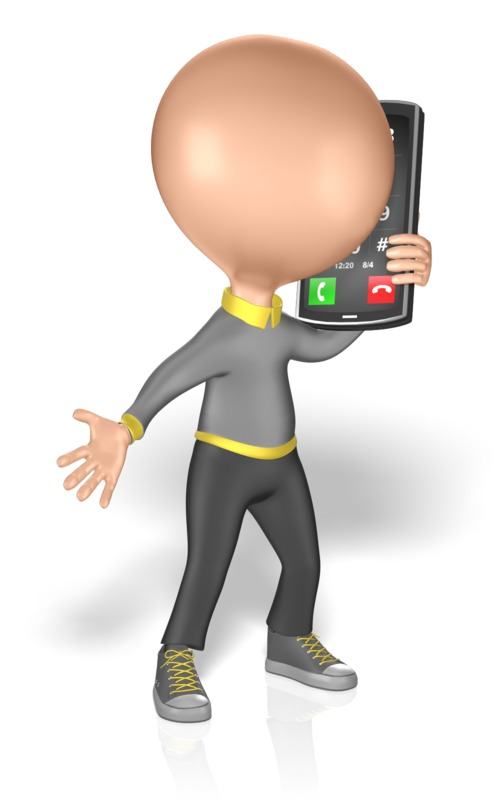 Clipart - Figure Talking on a Smart Phone