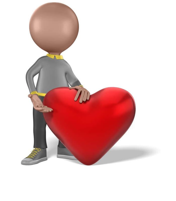 Clipart - Figure Giving a Large Heart