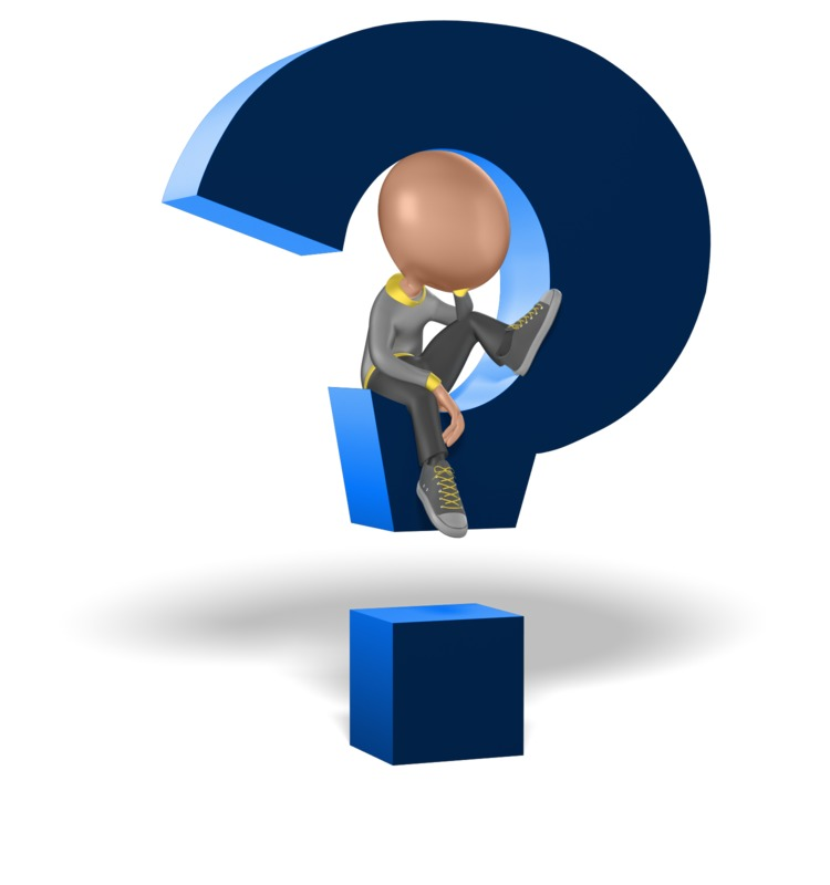 Clipart - Figure Sitting and Thinking Inside of Question Mark