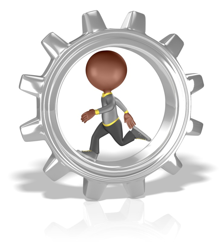 Clipart - Figure Running in Large Gear