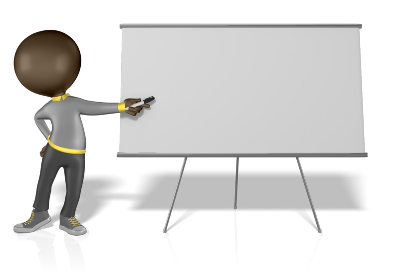 Clipart - Figure Pointing at a Blank Board