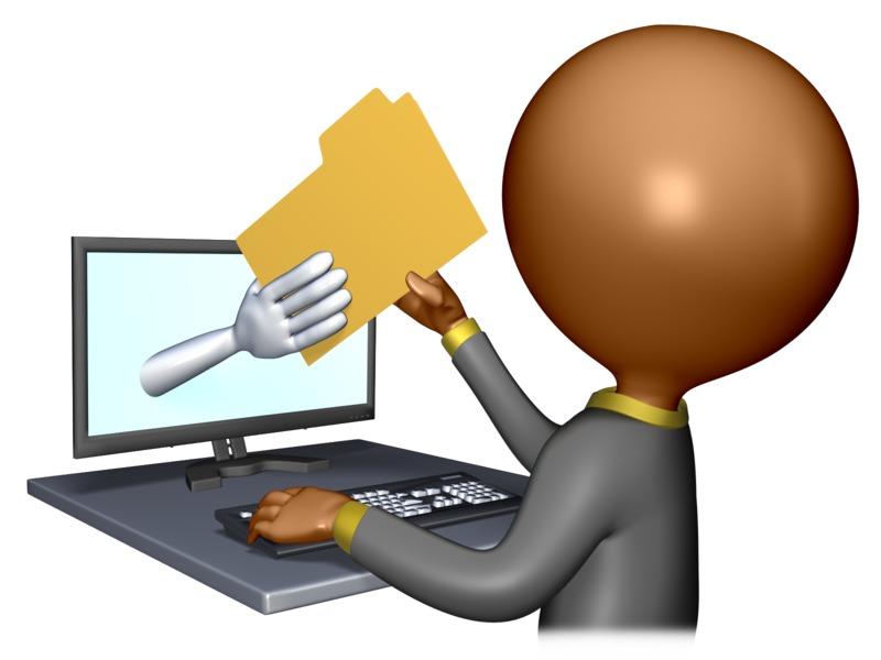 Clipart - Figure Computer File Transfer