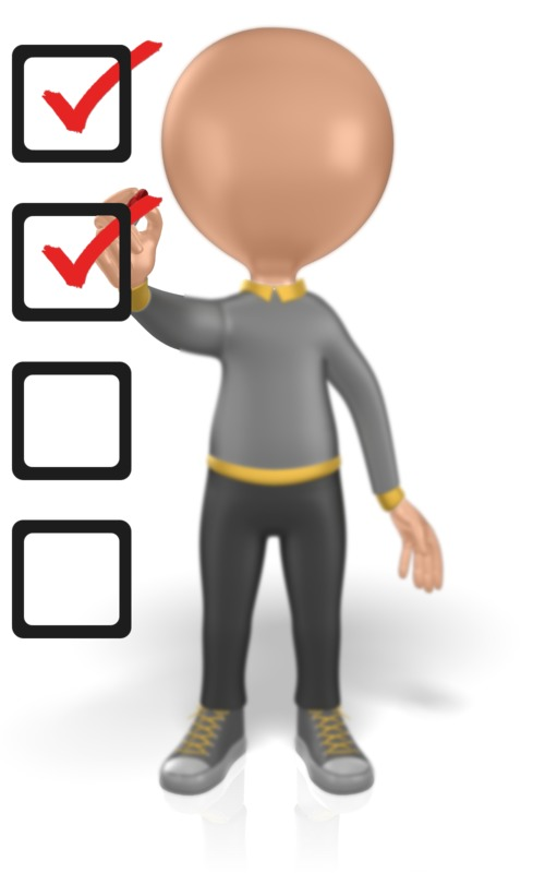 Clipart - Figure Drawing Marks On Checklist