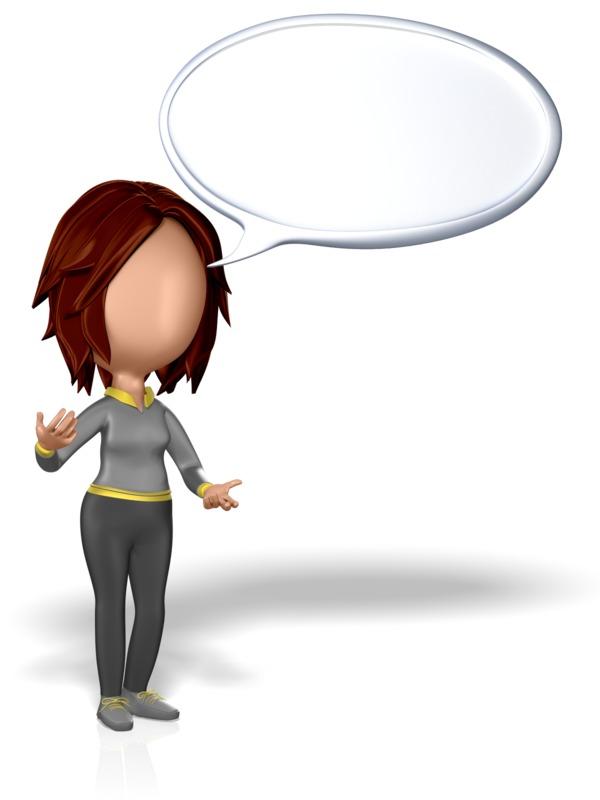 Clipart - Woman Stickfigure Speech Bubble