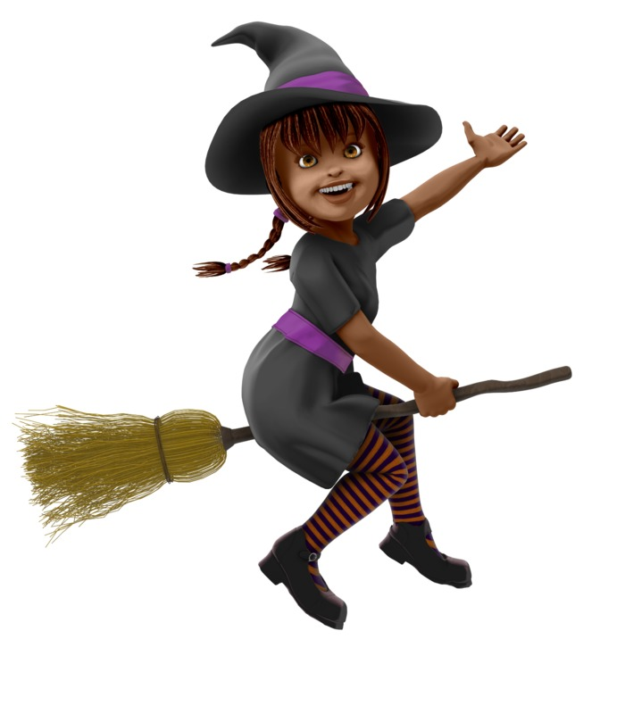 Clipart - Young Witch Riding Broom