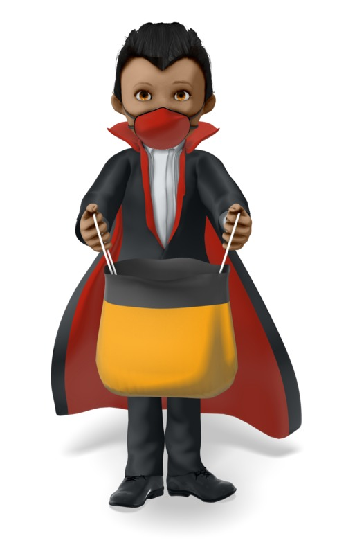 Clipart - Young Vampire Wearing a Covid Mask on Halloween