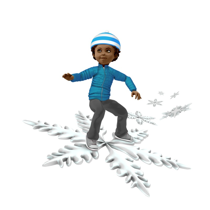Clipart - Young Boy Riding Snowflake