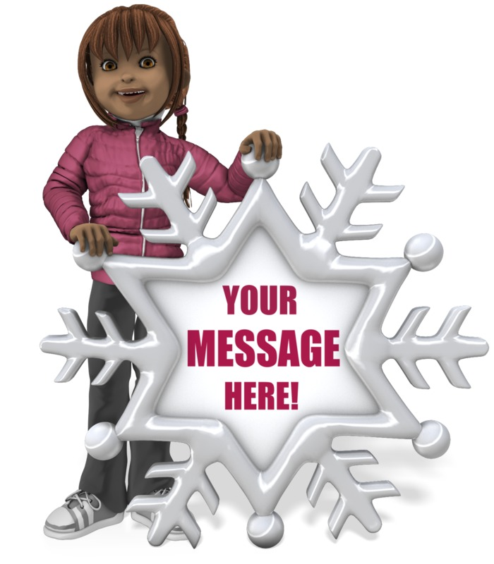 This Presentation Clipart shows a preview of Sally Holding Snowflake Sign