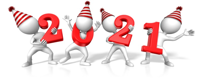 Clipart - Figures Holding the Year 2021