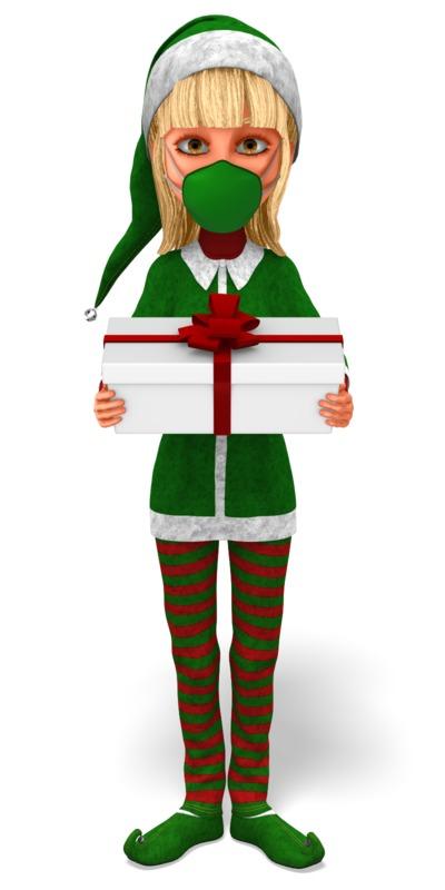 Clipart - Santa's Helper Wearing a Mask Presenting a Gift
