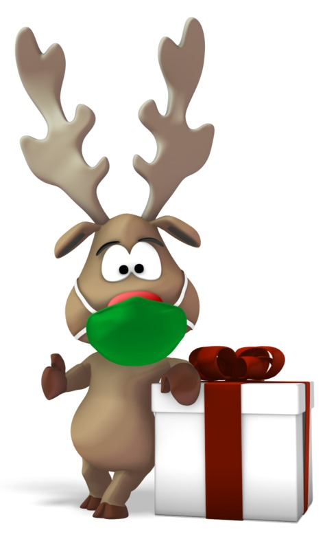 Clipart - Reindeer Wearing A Mask Next To Gift