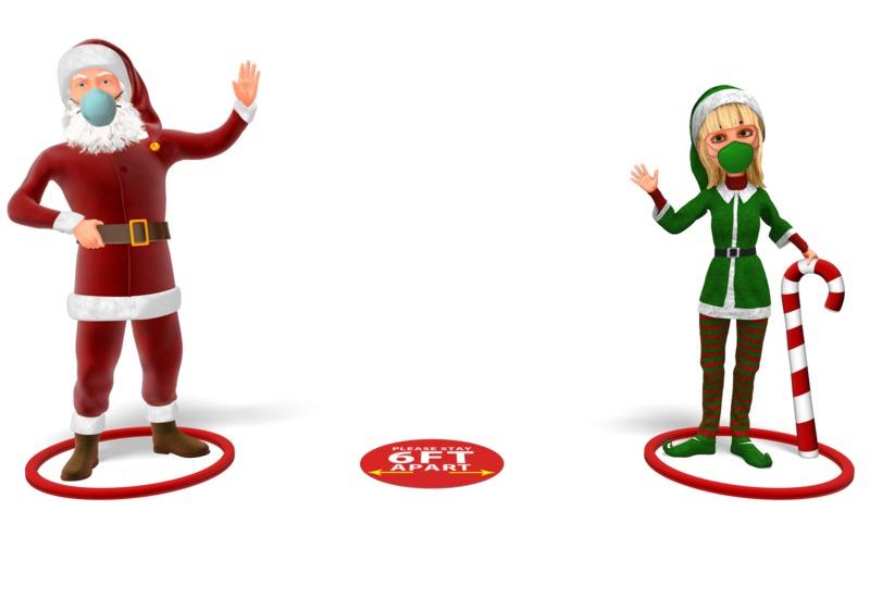 Clipart - Santa and Helper Social Distance