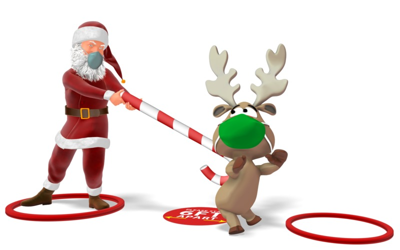 Clipart - Santa Pushing a Reindeer to Social Distance
