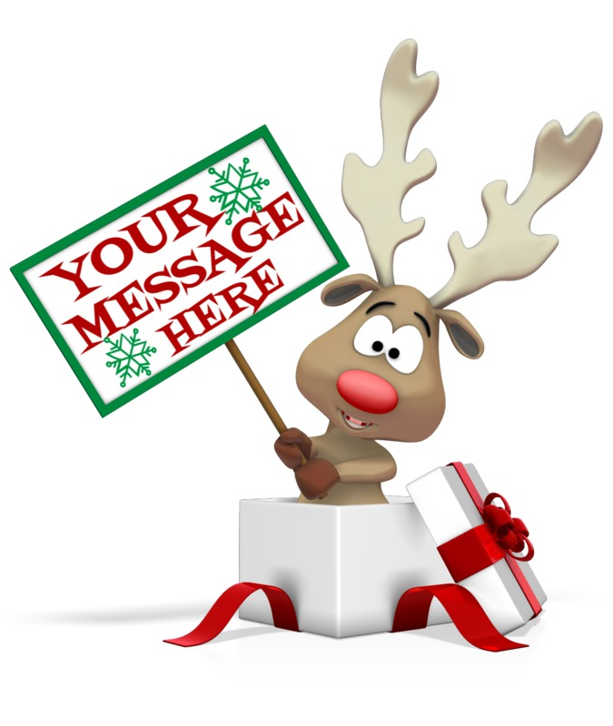 This Presentation Clipart shows a preview of Reindeer Holding Sign In Present