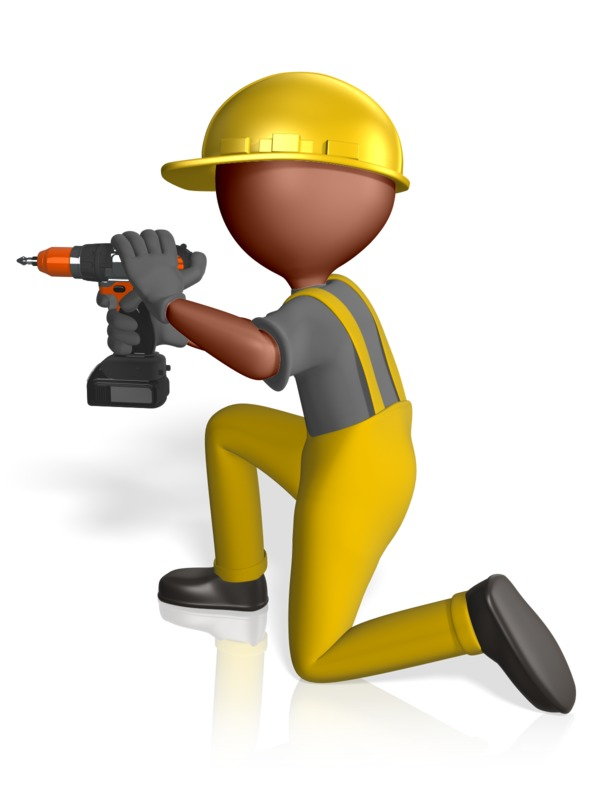 Clipart - Construction Figure Using Drill