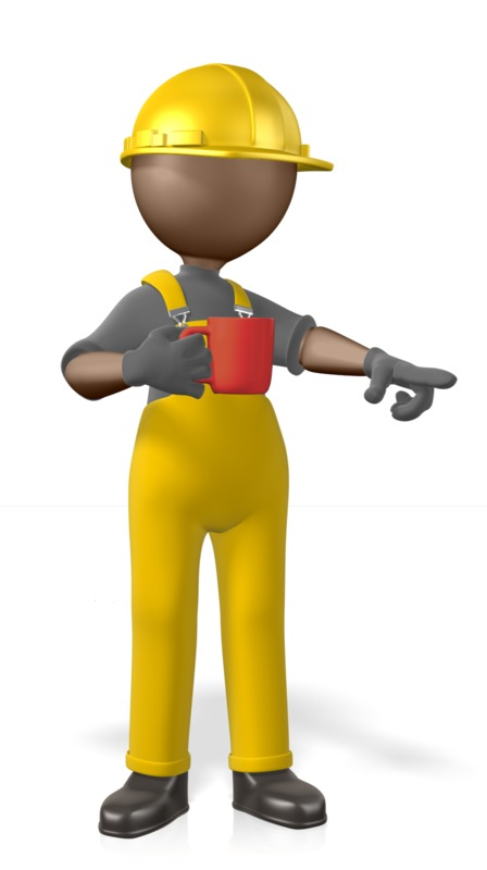 Clipart - Construction Figure Coffee Pointing
