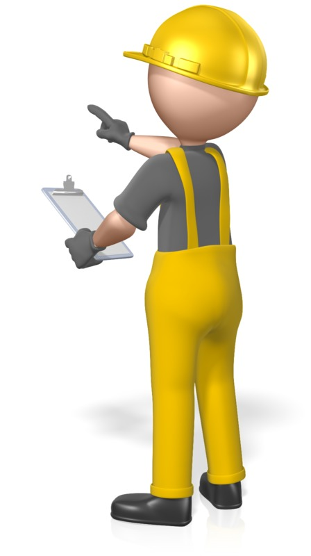 Clipart - Construction Figure Clipboard Pointing