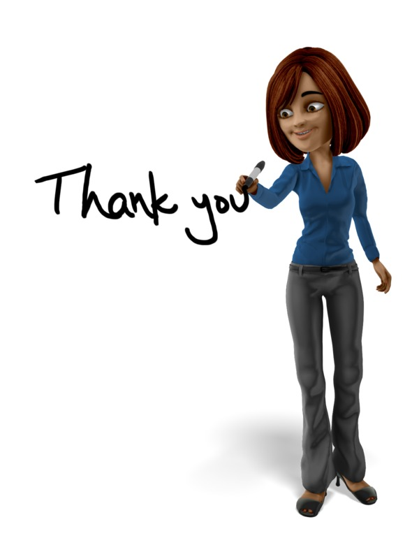 Clipart - Businesswoman Drawing Thank You