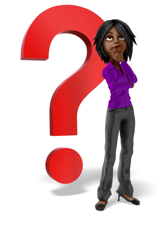 Clipart - Businesswoman Question Mark Thinking
