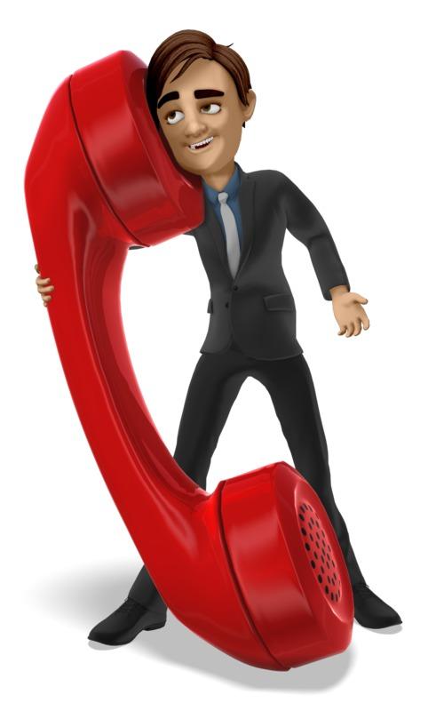 Clipart - Businessman Talks On Giant Phone