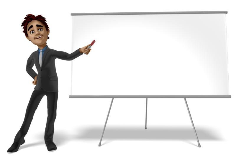 Clipart - Businessman Presenting Blank Board