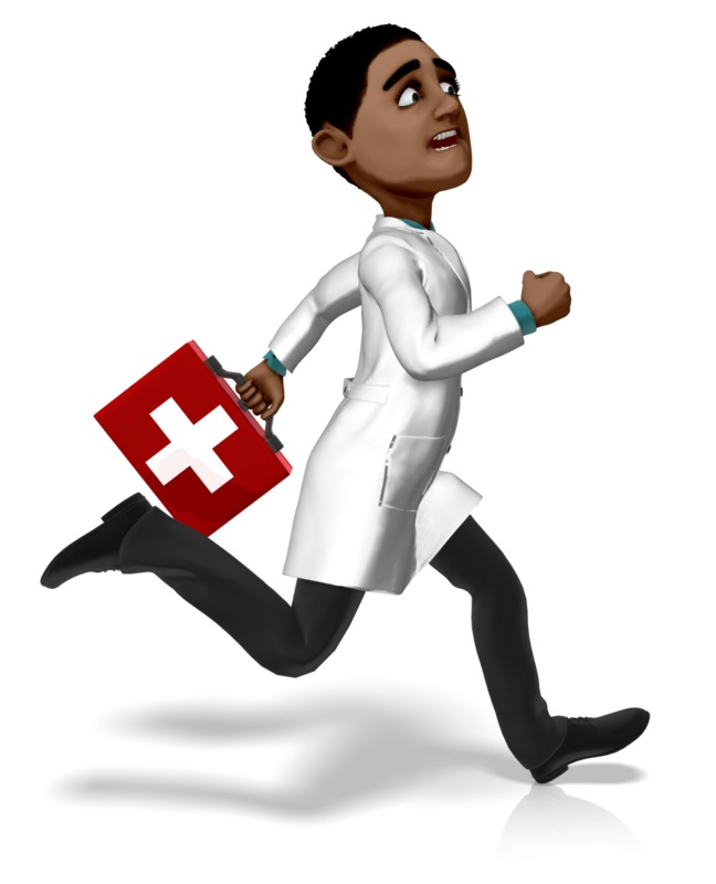 Clipart - Doctor Ethan Running First Aid Kit