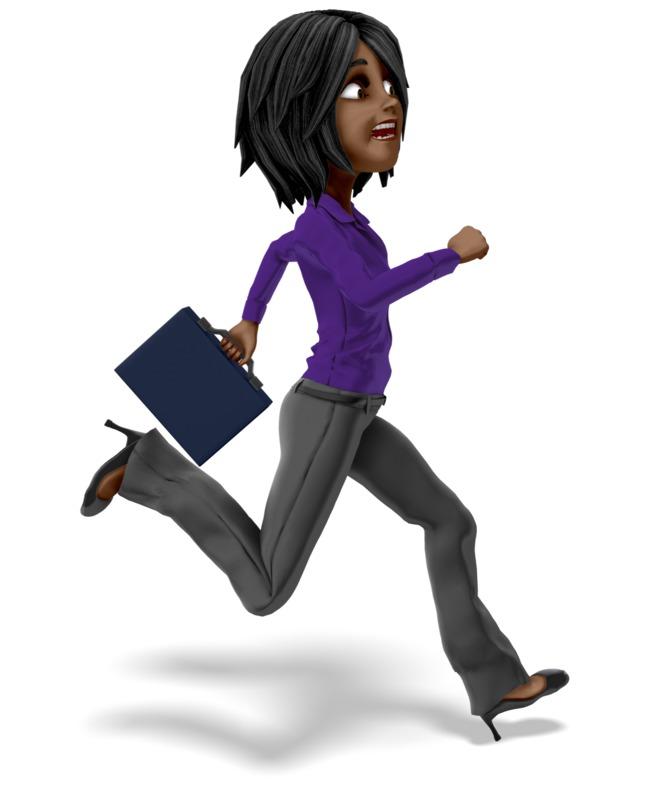 Clipart - Businesswoman Running Briefcase