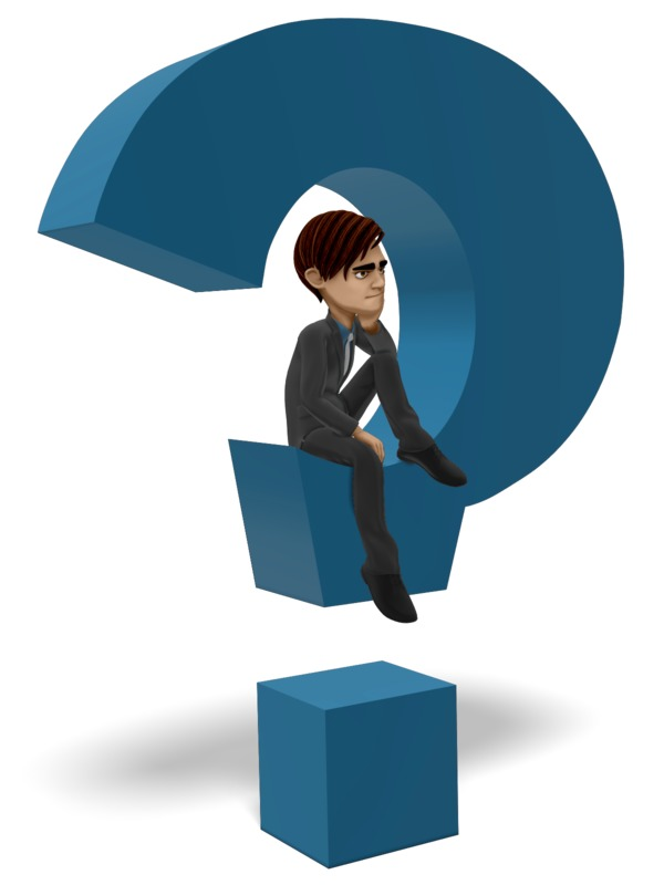 Clipart - Businessman Sitting In Question Mark