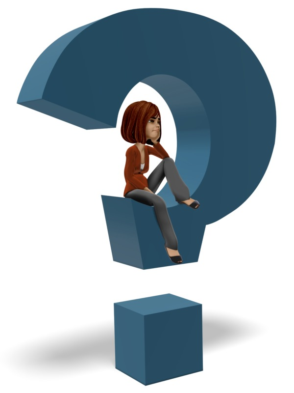 Clipart - Businesswoman Sitting In Question Mark