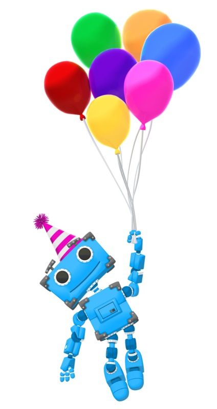 Clipart - Robot Birthday Balloons