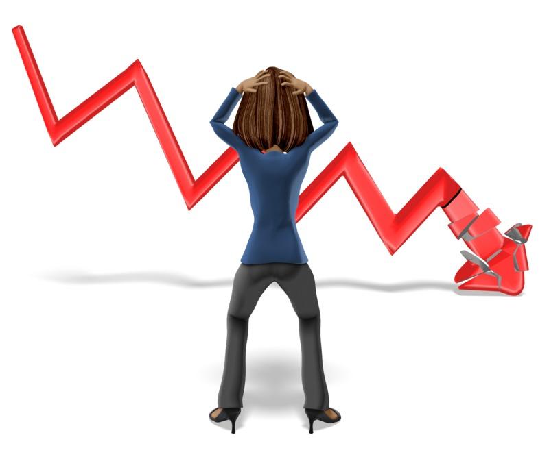 Clipart - Business Woman Graph Crash