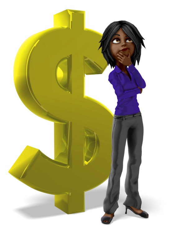 Clipart - Businesswoman Dollar Sign Thinking