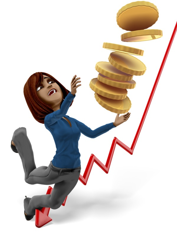Clipart - Businesswoman Tripping With Stack Of Gold Coins