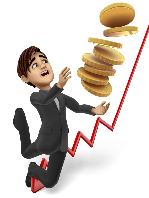 Clipart - Businessman Tripping With Stack Of Gold Coins