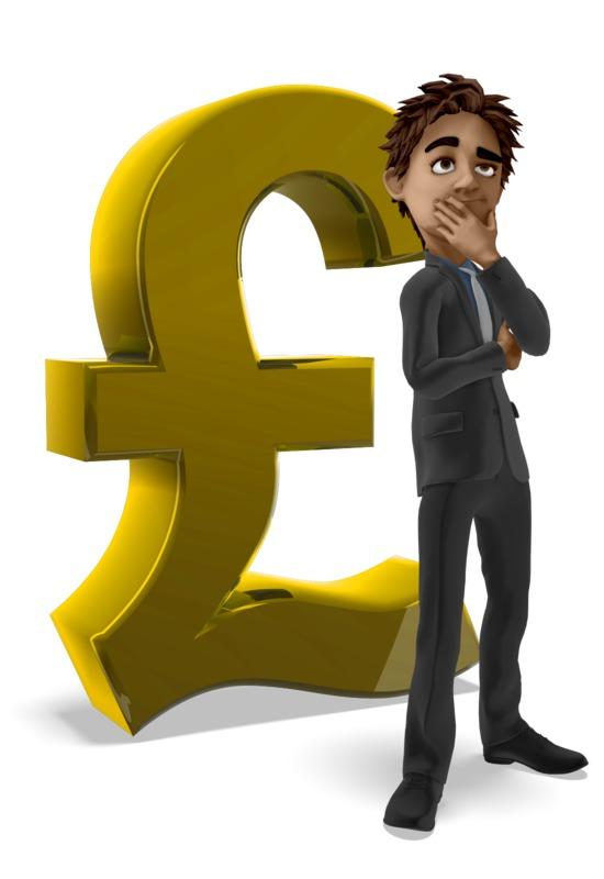Clipart - Businessman Thinking Pound Symbol