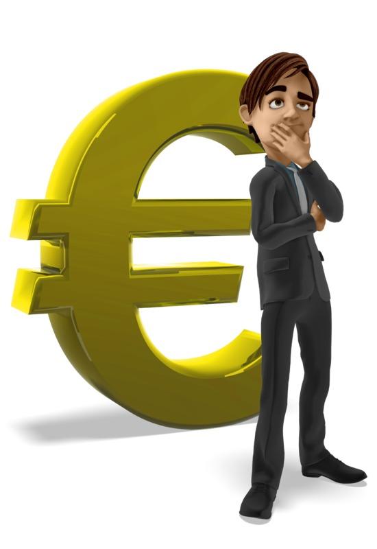 Clipart - Businessman Thinking Euro Symbol
