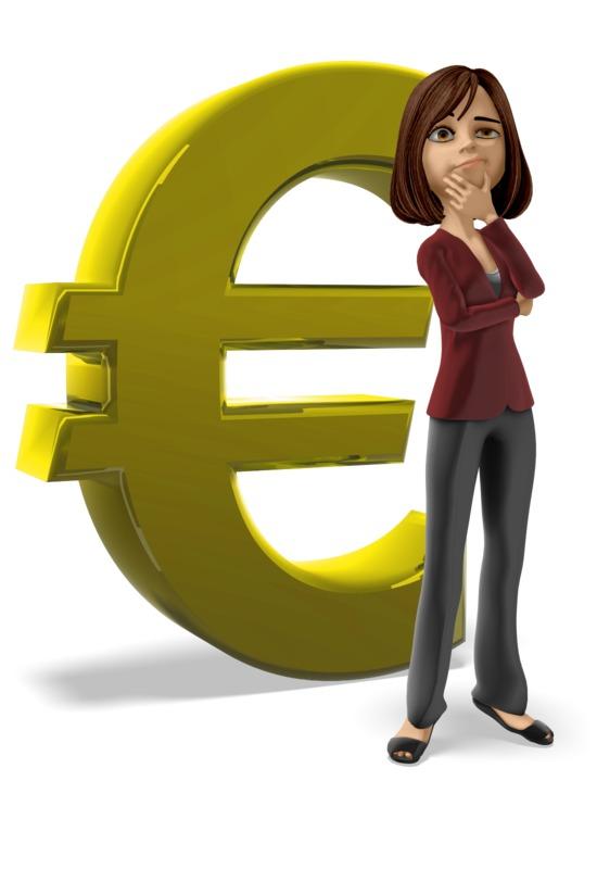 Clipart - Businesswoman Thinking Euro Symbol